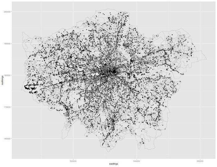 Mobile data points across London