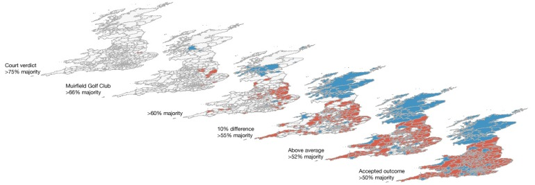 EU referendum results by area with different thresholds