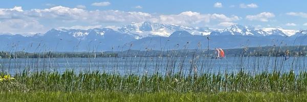 view across Greifensee towards the mountains